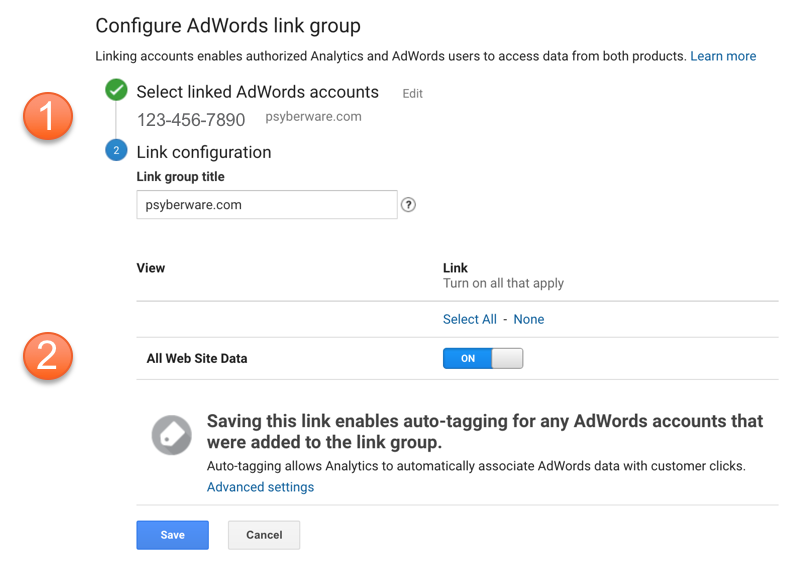 Configuring AdWords Linking