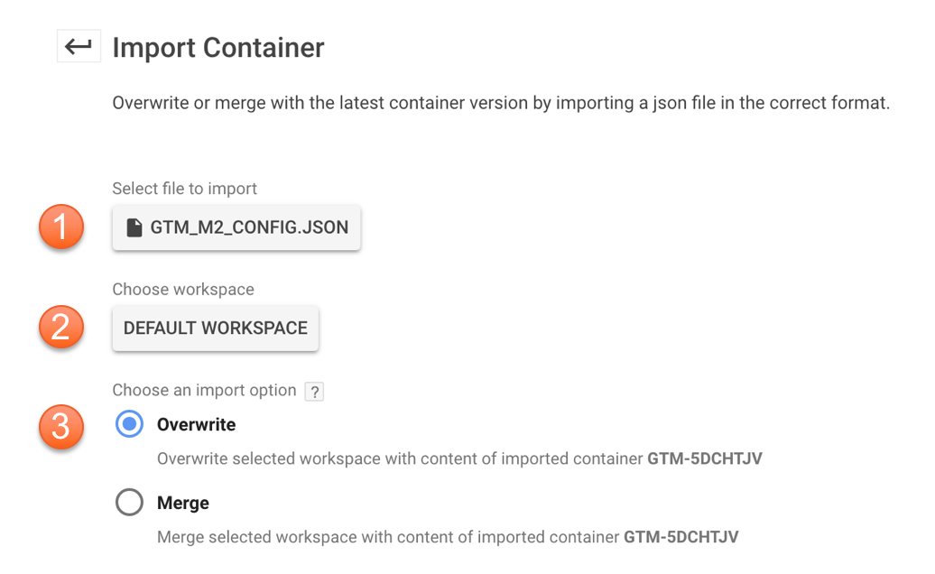 Import Container Settings